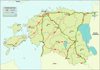 Észtország autópálya térkép